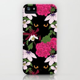 Cat in the flowers iPhone Case