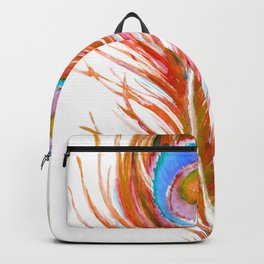 Peacock Theme - Red Feather Backpack