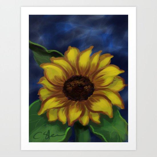 Dramatic Sunflower DP141118a Art Print
