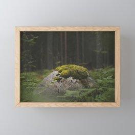 Rock in the woods Framed Mini Art Print