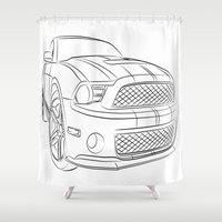 mustang Shower Curtains featuring Mustang by cchelle135