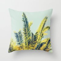 palm Throw Pillows featuring Palm by Esther Ní Dhonnacha