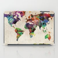 canada iPad Cases featuring World Map Urban Watercolor by artPause