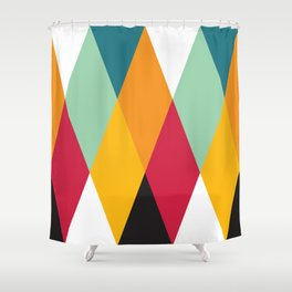 Geometric Pattern 27 (yellow orange red green) Shower Curtain