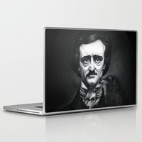 edgar allan poe Laptop & iPad Skins featuring Edgar Allan Poe Portrait by Eeriette