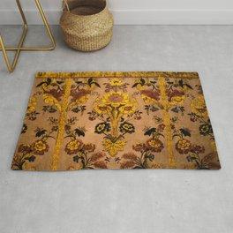 Golden Floral Tapestry Rug