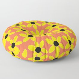 Black Eyed Susan On Coral Floor Pillow