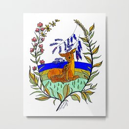 Doe And Fawn In Wildflowers Metal Print
