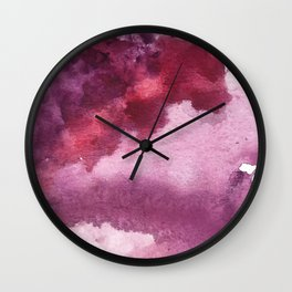 Blushing [5]: a minimal abstract watercolor and ink piece in shades of purple and red Wall Clock
