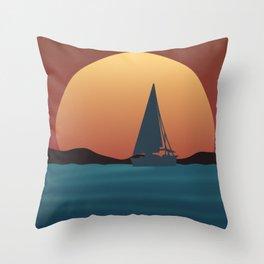 Boat Sunset Throw Pillow