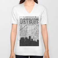 detroit V-neck T-shirts featuring DETROIT by Rustic Refresh