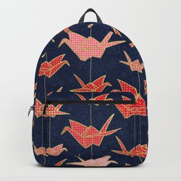Red origami cranes on navy blue Backpack