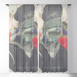 octups and flowers sailor Sheer Curtain