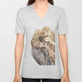 Chameleon With Sinister Facial Expression Isolated Unisex V-Neck