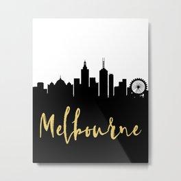 MELBOURNE AUSTRALIA DESIGNER SILHOUETTE SKYLINE ART Metal Print