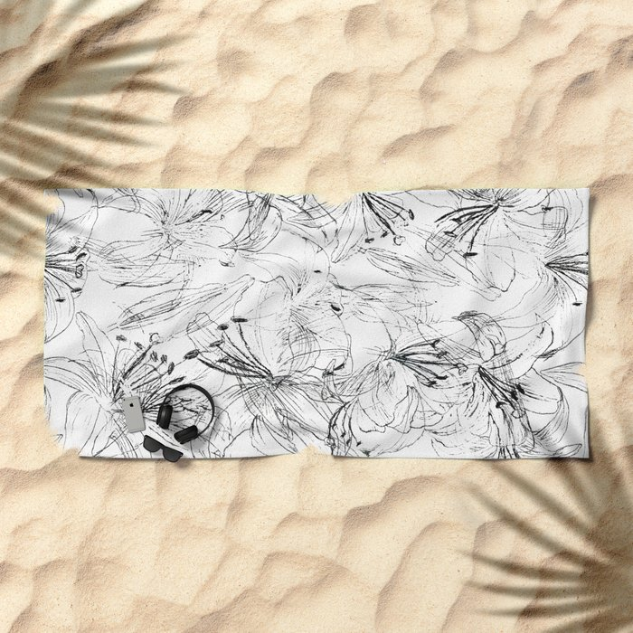 lily sketch black and white pattern Beach Towel