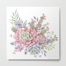 succulent watercolor 9 Metal Print