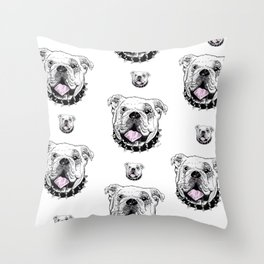 Bulldog with Pink Tongue Throw Pillow
