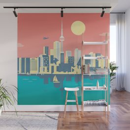 Toronto City Skyline Art Illustration - Cindy Rose Studio Wall Mural