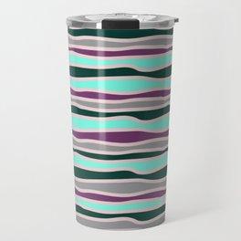 Geometrical mauve violet teal gray forest green stripes Travel Mug