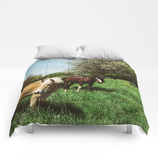 Horses In Spring Pasture Comforters