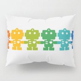 Rainbow Robots Holding Hands Pillow Sham