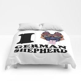 I Love German Shepherd modern v1 Comforters