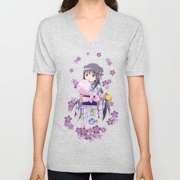Homura Akemi (Yukata & Cherri Blossom edit) Unisex V-Neck