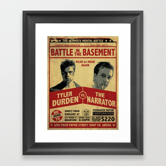 Fight Club Fight Poster Framed Art Print