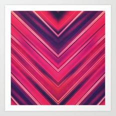 Modern Red / Black Stripe Abstract Stream Lines Texture Design (Symmetric edition) Art Print