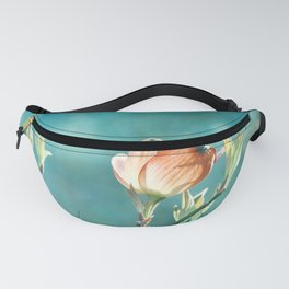 Teal Orange Floral Photography, Turquoise Dogwood Flower Art, Aqua Coral Nature Fanny Pack