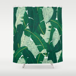 Classic Banana Leaves in Palm Springs Green Shower Curtain
