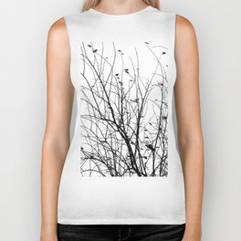 Black white tree branch bird nature pattern Biker Tank