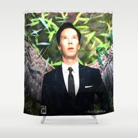 benedict cumberbatch Shower Curtains featuring Benedict Cumberbatch Angel by André Joseph Martin