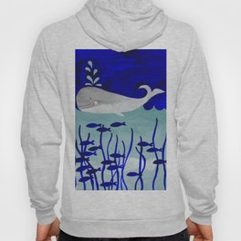 whale in the ocean watercolor illustration Hoody