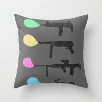 guns Throw Pillows featuring Bubble Guns by Tobe Fonseca