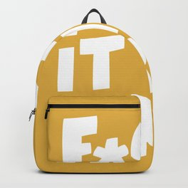 F*CK IT I'M TIRED funny motivational typography inspirational quote in vintage yellow wall decor Backpack