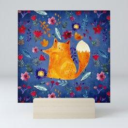 The Smart Fox in Flower Garden Mini Art Print