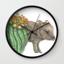Javelina and Barrel Cactus Wall Clock