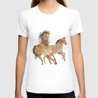 horses T-shirts featuring Horses by Stag Prints