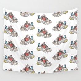 Balenciaga Triple S Sneaker Pattern Illustration Wall Tapestry