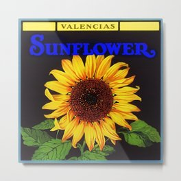 Vintage Blue Orangedale Sunflower Crate Decorative Art Label Poster for kitchen or dinning room Metal Print