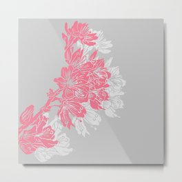 Cherry Blossom Grey Block Print Metal Print