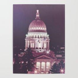 Idaho Capital Building at Night Poster