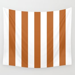 Ruddy brown - solid color - white vertical lines pattern Wall Tapestry
