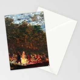 Restored: Night Festival & Bonfire, Figures on a Boat River Landscape by Felix Ziem Stationery Cards