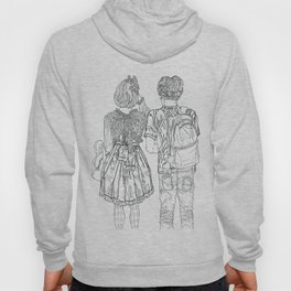 Geometric Japanese Black and White Linework Love couple Hoody