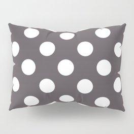 Dark liver - grey - White Polka Dots - Pois Pattern Pillow Sham
