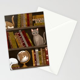 cat bookshelf Stationery Cards