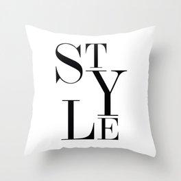 Style Word, Fashion Art, Style Text Throw Pillow
